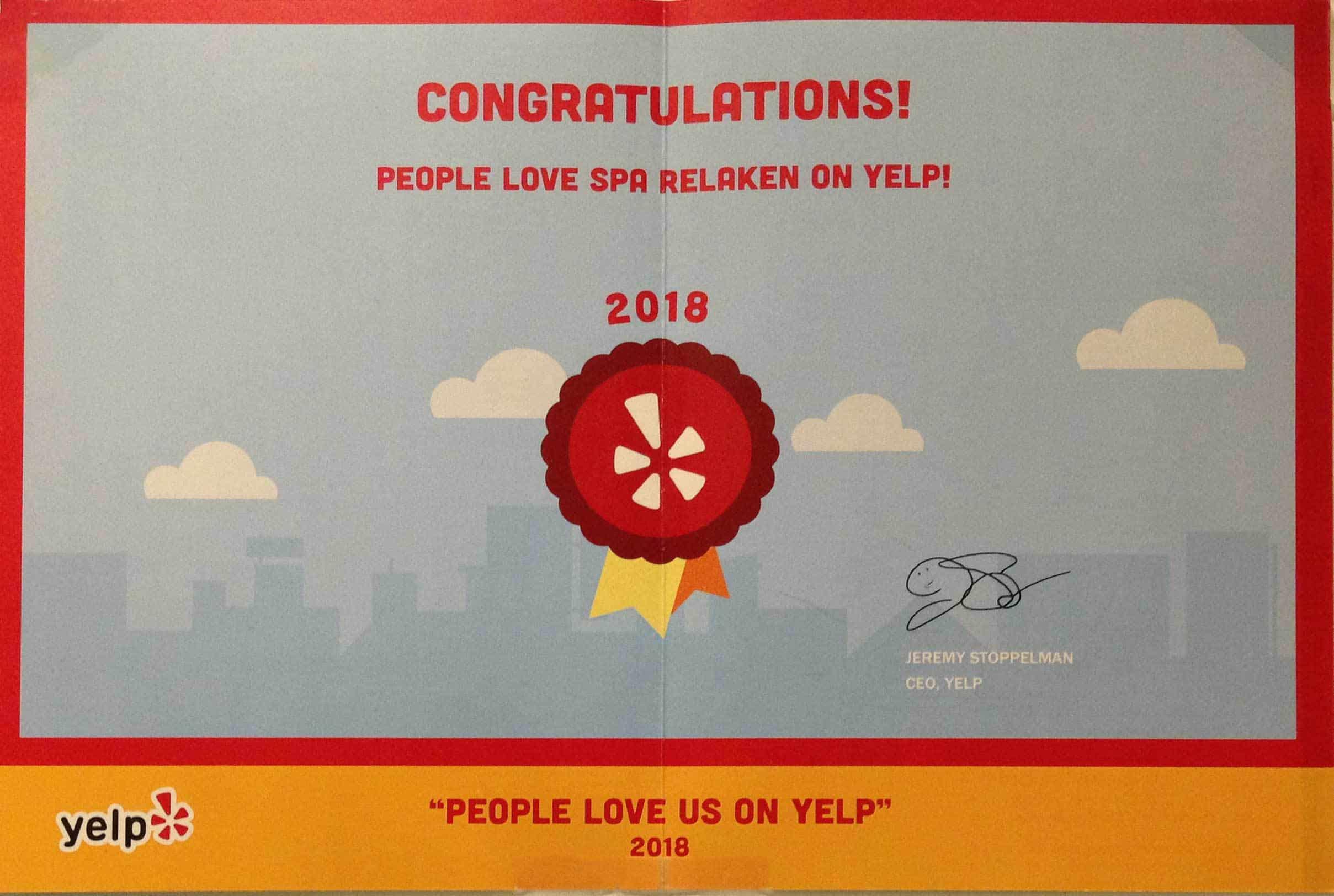 2018 Yelp Certificate